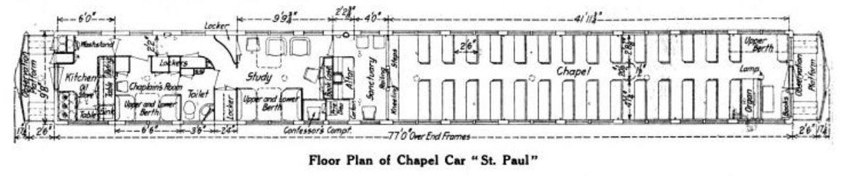 Floor plan of railroad chapel car St. Paul